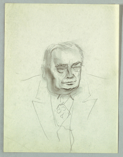 The head is turned sligthly to the right, so that only the left ear is visible. Under thick brows, the eyes, although open, are not fully drawn; heavy pouches are sketched underneath. The lips are closed. Heavy jowls, emphasized by shadows on the left and under the chin, obscure the neck. Line drawing is used to sketch in the coat and tie.