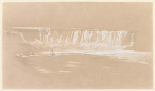"Recto: Horizontal view of Horseshoe Falls from the North with a steamer visible near it on the river; strokes of a scale, at top edge.  Verso: Top and bottom edges show scales, with the first one numbered up to ""8."""