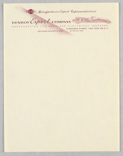 """Company logo at upper left: """"Kenroy"""" in horizontal diamond, followed by """"Manufacturers Export Representatives"""" in script.  At left,  the Company name is bisected by a red airbrushed line and on the right, a tiny image of a factory from which emerge two enlarged conduits on left and right."""