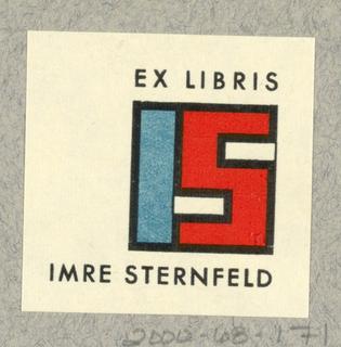 Ex Libris Label, IS (Imre Sternfeld)
