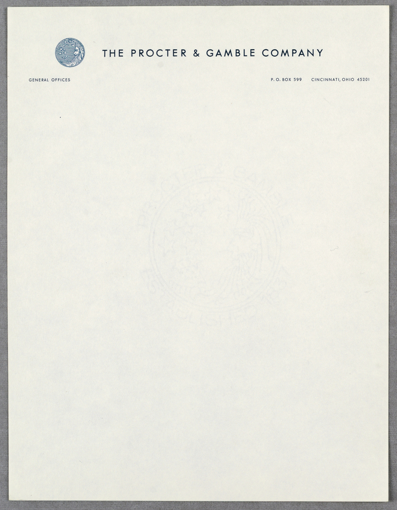 The Proctor& Gamble logo (at upper left) shows a bearded man in profile (the man in the moon) defining the crescent/ right side of a circle, and thirteen stars on a striped background (hints at the flag and patriotism).  Company name centered across top of sheet (to the right of the logo); company address as second line, at upper right.