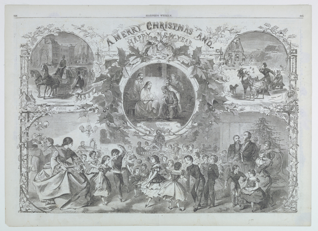 Horizontal view of a Christmas party with an insert of the Adoration of the Sheperds, and one of 5th Avenue and one of 59th Street.