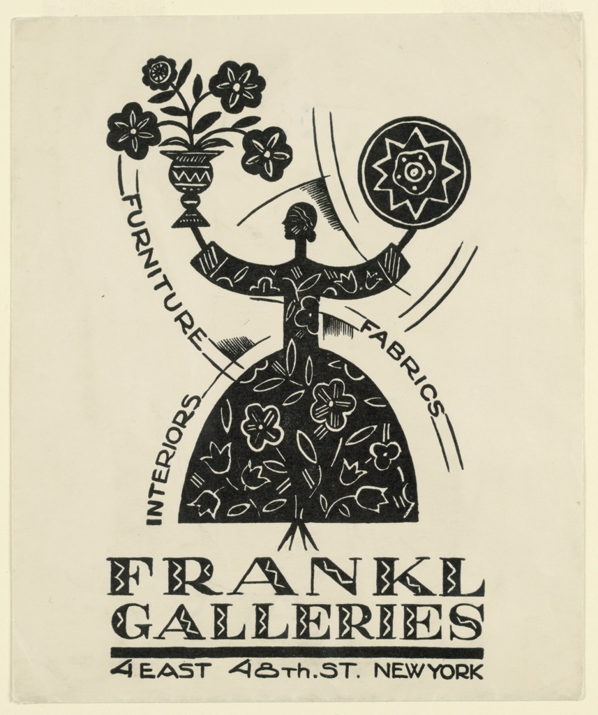 "Silhouetted abstract female figure viewed in profile wearing black flowered dress. She holds up a vase of flowers in her right hand and a pin-wheel in left.  The words ""FURNITURE,"" ""FABRICS,"" and ""INTERIORS"" printed on curving, intersecting lines that follow the curving contours of her body."