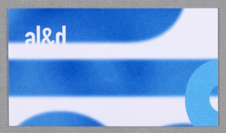 """Business card for Faculty of Architecture Landscape and Design at University of Toronto. Recto: Partial view of logo """"al&d"""" (in blue) in vertical orientation on white. """"al&d' (in white) in horizontal orientation at upper left which overlaps blue text. Partial view of curvature of letter in sky blue at lower right corner. Verso: Imprinted from top left, left justified, contact information: """"T 416 978 0631/ F 416 971 2093/ rob@vmet.org (all in bold)/ www.itdc.utornoto.ca/ Robert Ouellette (in bold)/ Director, Information Technology Design Centre/ Faculty of Architecture, Landscape, and Design/ University of Toronto/ 230 College Street, Toronto ON Canada M5T 1R2"""" (in black)."""