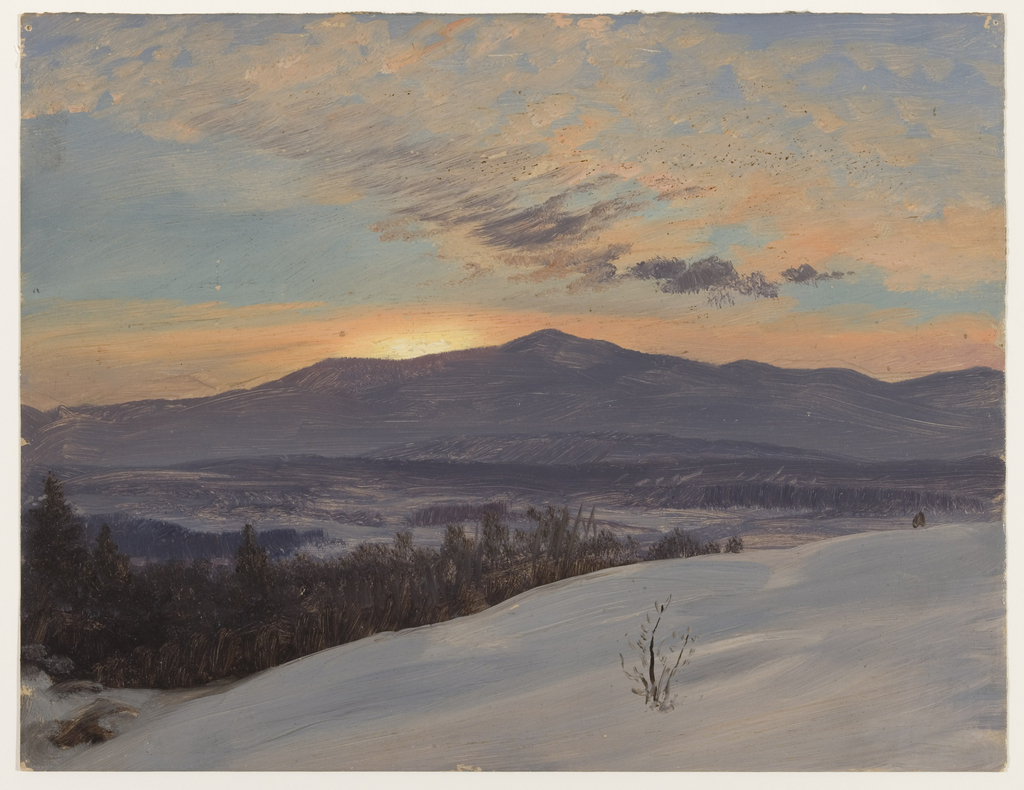 Drawing, Sunset Across the Hudson Valley, Winter