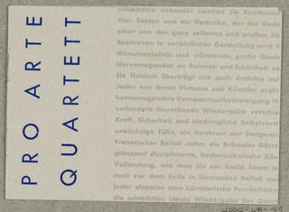 Brochure, Pro Arte Quartett