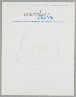 Company name in gold and blue. In center of sheet, image of artist's brush and palette (as  an outline  with initials IP within).