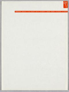 Sheet Of Stationery, Robert Haas