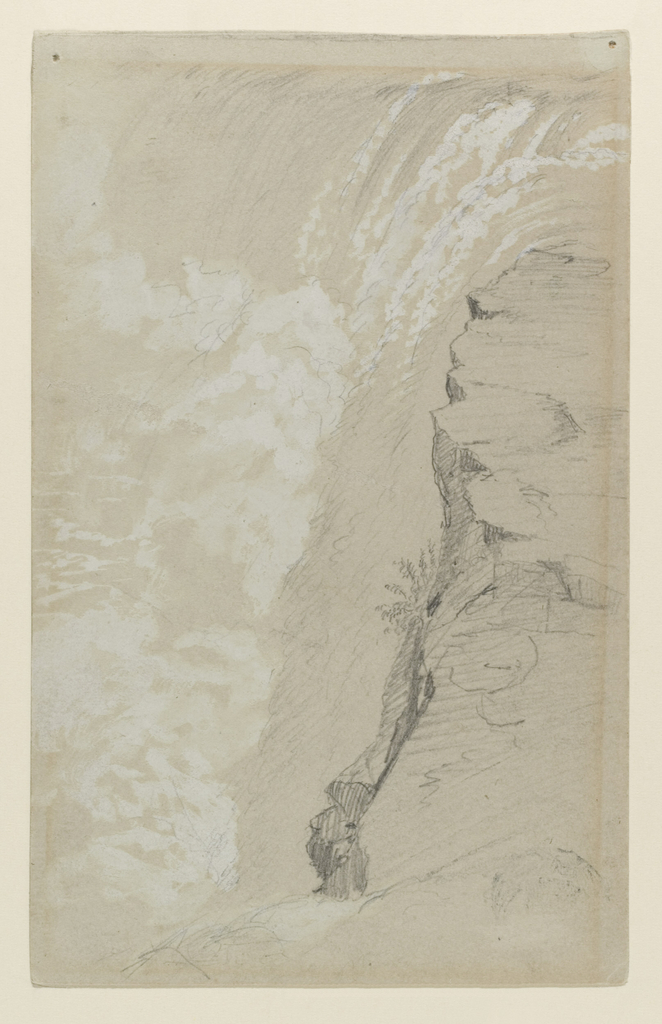 Recto: Vertical view of the Canadian Falls at Niagara, shown from the South.  Verso: Vertical view of the American Falls at Niagara, shown from the West.