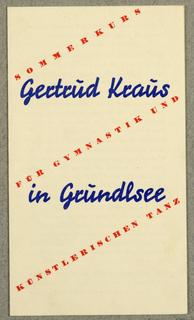 Brochure, Gertrud Kraus in Gründlsee