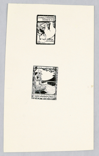 Two bookplate reproductions on a single high gloss page. Top bookplate is upside down: George F Baer designed by William Jordan. Bottom image: Nora Beatrice Dicksee. Both are reduced in size from the same bookplates in accession numbers 1969-13-4-6 and 1969-13-4-4 respectively.
