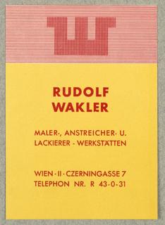 Business Card, Rudolf Wakler, Maler, Anstreicher -und Lackierer