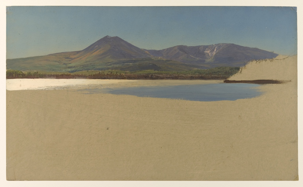Horizontal view of Mounts Katahdin and Turner shown from Katahdin Lake with high bottom margins and an unfinished hill at right under a blue sky.
