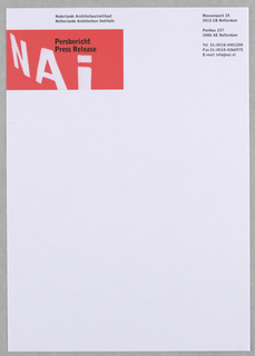 "At upper left, ""NAI"" in white inside red, horizontal rectangular box; superimposed imprint of museum name in Dutch with English below.  Address, etc. imprinted in black, upper right."