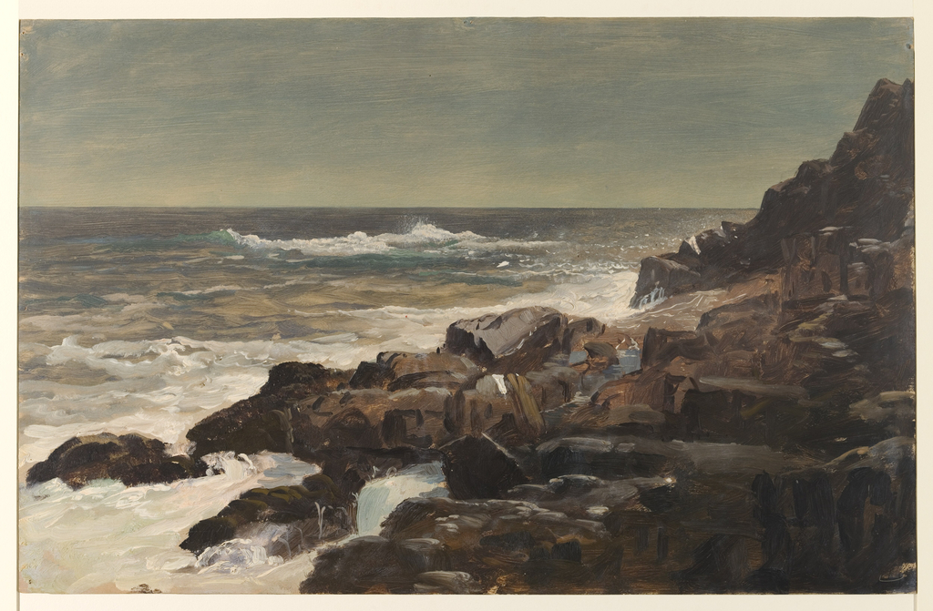 Horizontal view of rocky Maine coast with breaking waves in right foreground and sea in the distance.