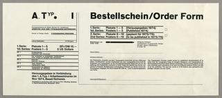 Poster Order Form (Switzerland), 1974