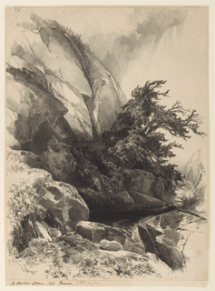 Vertical view in center foreground of a flowing brook rounding a tree-covered outcropping of rock and forming a pond with steep bare rocky mountain side at left in distance.
