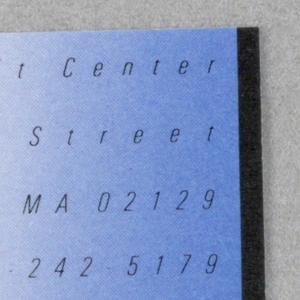 White business card with square cutout in lower left corner. Embossed white square at center that reads: Skolos / Wedell / Raynor; in black: + / Inc.; surrounded pink gradient shape, and upper right corner blue gradient rectangle. Black text: Nancy Skolos; The Schrafft Center / 529 Main Street / Charlestown, MA 02129 / 617-242-5179