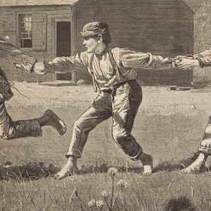 Nine barefoot country boys play snap the whip.  Seven boys are holding onto each other's hands while two boys have broken away on the left.  On the right middle ground is a school house.  On the left, children can be seen in the background.