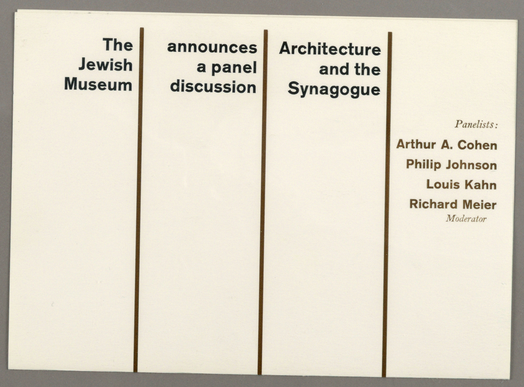 """Print, Invitation for a Panel Discussion, """"Architecture and the Synagogue,"""" The Jewish Museum, New York, NY"""