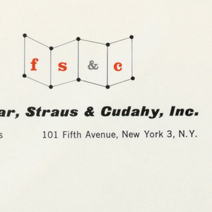 Envelope for Farrar, Straus & Cudahy, Inc., publishers.  Company name, printed in black, appears at left.  Logo, a series of dots and lines forming angled planes of space with F, S, &, and C centered on each, is situated top left, address underneath.