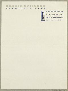 Letterhead, Berger & Fischer Buchandlung, Wien