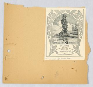 Bookplate reproduction on scrapbook page: Ex libris Carl G.F. Langenscheidt, Bon Germann Girzel