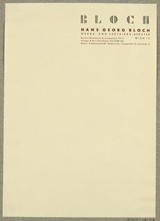 Letterhead, Hans Georg Bloch