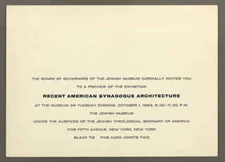 Off-white print invitation with eight lines of printed black text at lower center, address of the Jewish Museum, New York, NY.