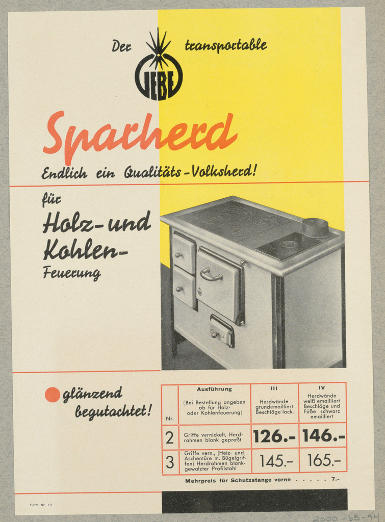 """Advertisement, Der Transportable """"Iebe"""" Sparherd [The """"Iebe"""" Portable Stove]"""