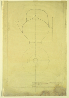 Elevation and top view of teapot with c-shaped handle.