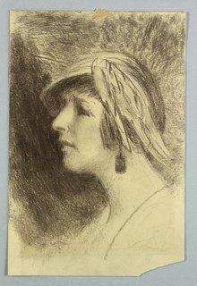 Sketch of a female figure in profile.