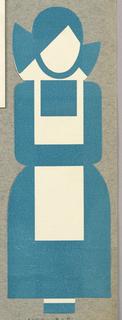 Business Card, Woman Wearing Blue Uniform and White Apron, Logo for Qualitätwäsherei Zanten