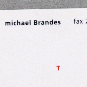 White business card with black ink, at the top: Michael Brandes fax 213 226 1105 [red ink:] 213 226 1112 / [on right, in column in black ink:] 600 / Moulton Ave / #305 / Los Angeles / California / 90031. Across card, in red ink: R     O T O / [in black] ndi  ]