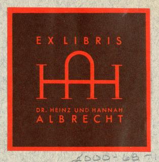 Ex Libris Label, Dr. Heinz und Hannah Albrecht [Dr. and Mrs. Heinz Albrecht]