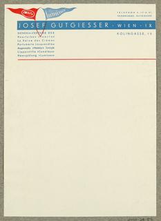 Letterhead, Josef Gutgiesser, Wien
