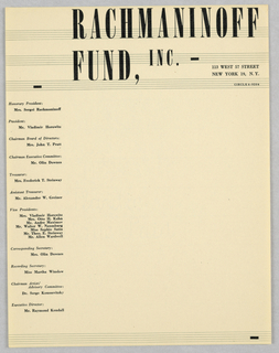 Print, Letterhead: Rachmaninoff, ca. 1945