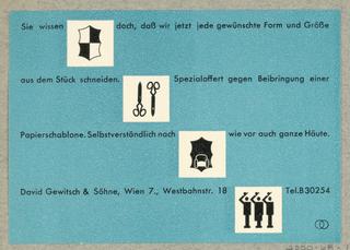 Business Card, Sie wissen doch ... David Gewitsch & Söhne, Wien