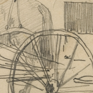 Recto: Horizontal view of two horses harnessed to a wagon, a portion of which is shown at the right.    Verso: Slight horizontal sketch of people at a fireside.