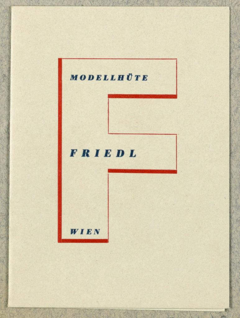 Business Card, Modellhüte Friedl, Wien