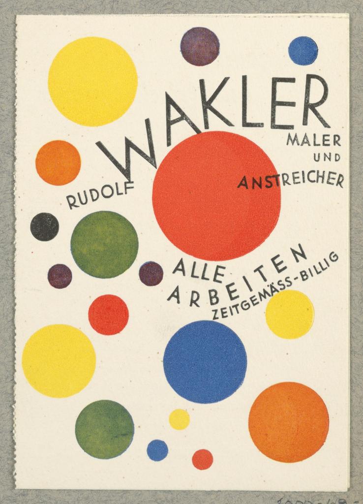 Business Card, Rudolf Walker, Maler und Anstreicher [Rudolf Walker, Artist and House Painter]