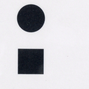 Vertical rectangle, invitation with black print on white ground. At upper left a black circle, square, and triangle, vertically aligned. Black printed text at lower center and at lower left.