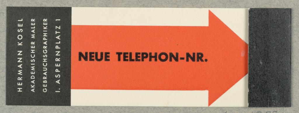 Business Card, Herman Kosel / Neue Telephon-NR.