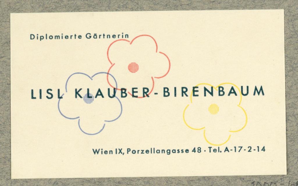 Business Card, Lisl Klauber-Birenbaum