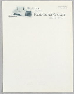 Letterhead, Royal Casket Co., Zeeland, MI