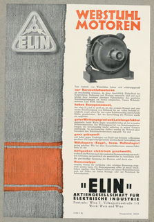 Advertisement, Webstuhl Motoren / Elin Co., Wien