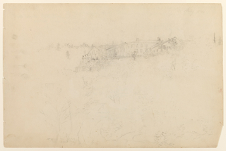 Recto:Horizontal view of the Catskill Mountain House seen from the side, slightly below, with trees and bushes in the foreground. Verso: Horizontal view of hill profile of the Catskill Mountains with cloud effects.