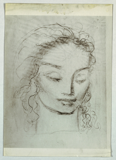 The subject's wavy hair is brushed back from the forehead and cascades down to the shoulders. The right brow, slanting upward, forms an unbroken line with the nose on the same side; the left brow slants upward as well. The eyelids are lowered, but the left one opens slightly to reveal the eye. The lips are slightly parted; the upper lip is narrow and the lower full. A thickened line forms under the chin, and shading is emphasized in the right cheek and at the hairline.
