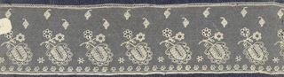 Embroidered machine net, floral unit repeated; late 19th century Brittany