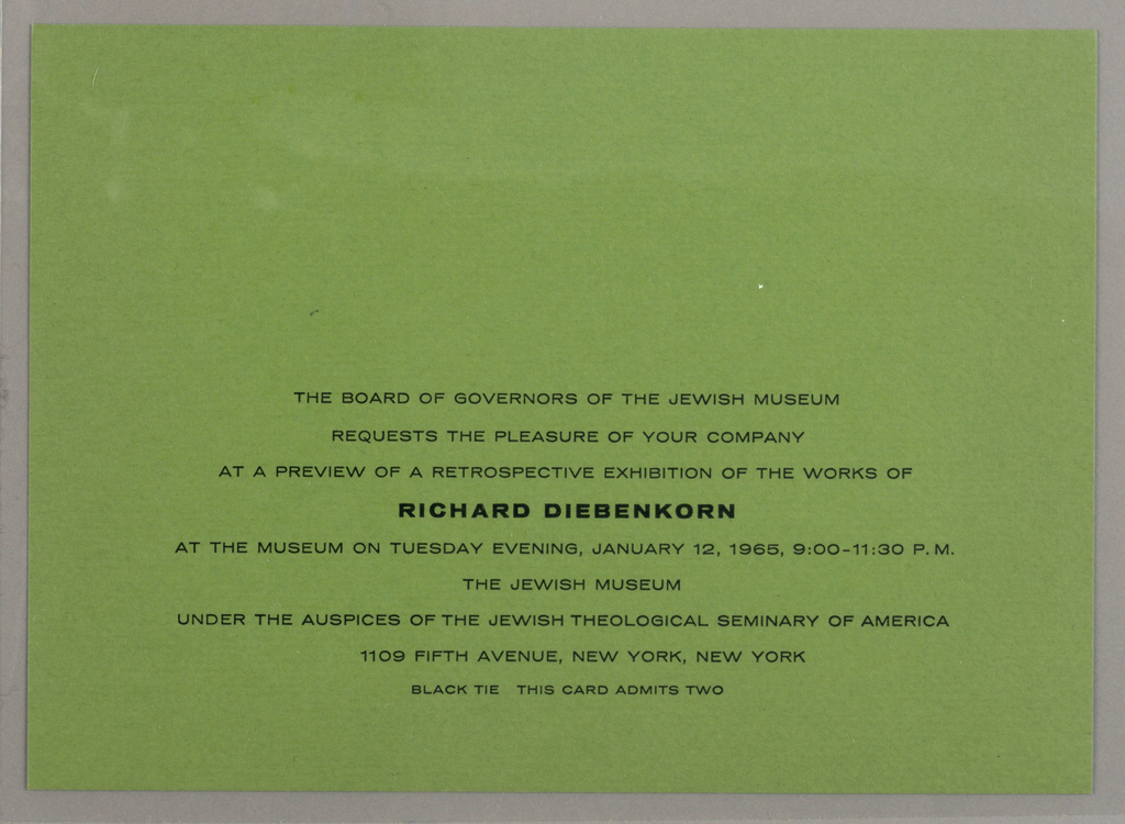 Green print invitation with nine lines of printed black text at lower center, address of the Jewish Museum, New York, NY.
